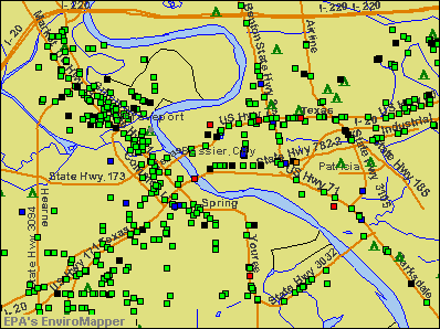 Bossier City, Louisiana environmental map by EPA
