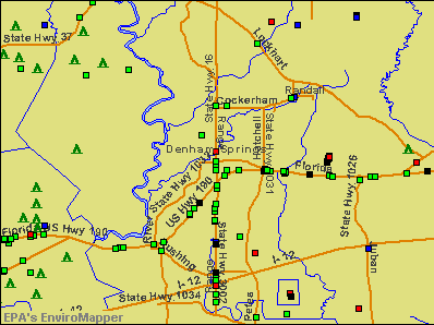 Denham Springs, Louisiana environmental map by EPA