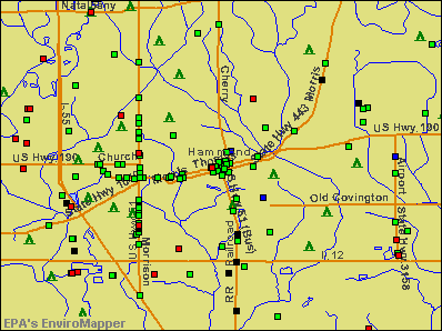 Hammond, Louisiana environmental map by EPA