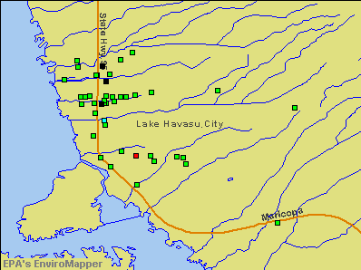 Lake Havasu City, Arizona environmental map by EPA