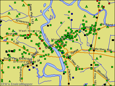 Monroe, Louisiana environmental map by EPA