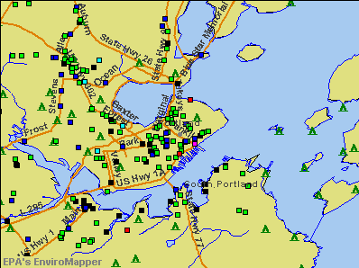 Portland, Maine environmental map by EPA