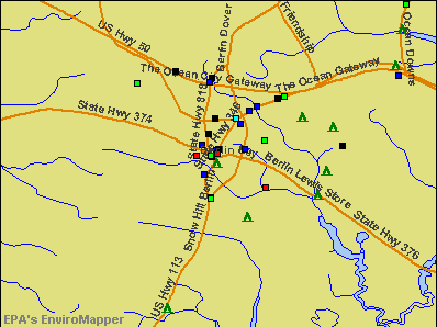 Berlin, Maryland environmental map by EPA