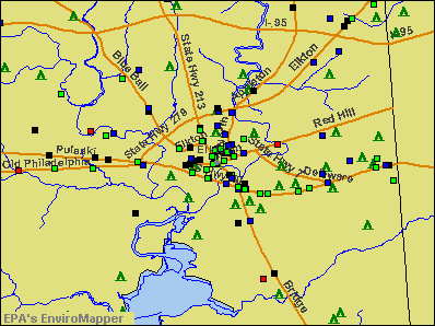 Elkton, Maryland environmental map by EPA