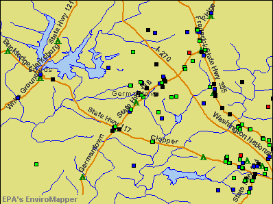 Germantown, Maryland environmental map by EPA