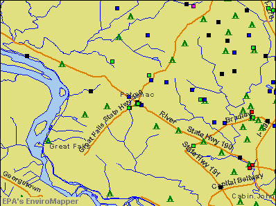 Potomac, Maryland environmental map by EPA