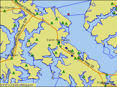 St. Michaels, Maryland environmental map by EPA