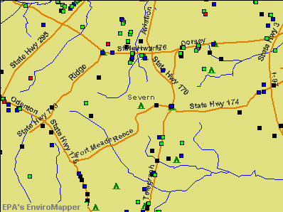 Severn, Maryland environmental map by EPA