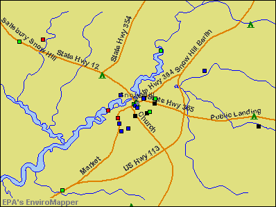 Snow Hill, Maryland environmental map by EPA