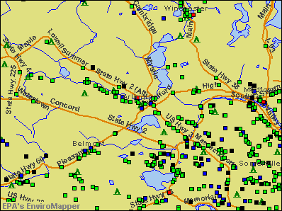 Arlington, Massachusetts environmental map by EPA