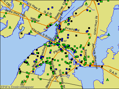 Fall River, Massachusetts environmental map by EPA