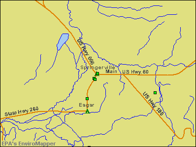 Springerville, Arizona environmental map by EPA