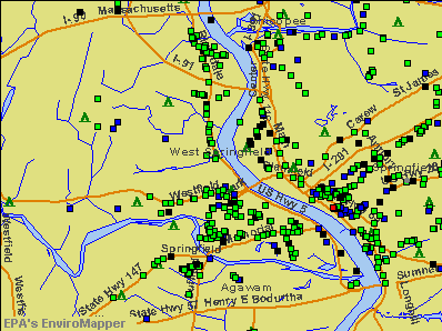West Springfield, Massachusetts environmental map by EPA