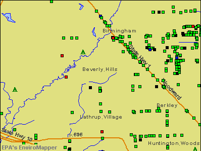 Beverly Hills, Michigan environmental map by EPA