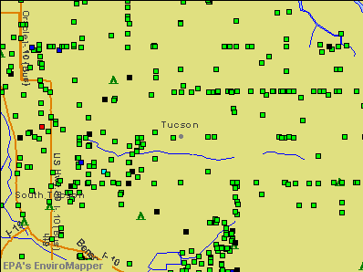 Tucson, Arizona environmental map by EPA