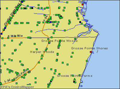 Grosse Pointe Woods, Michigan environmental map by EPA