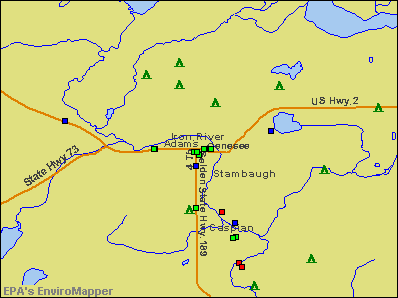 Iron River, Michigan environmental map by EPA