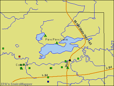 Paw Paw Lake, Michigan environmental map by EPA