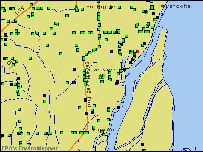 Riverview, Michigan environmental map by EPA