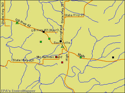 Berryville, Arkansas environmental map by EPA