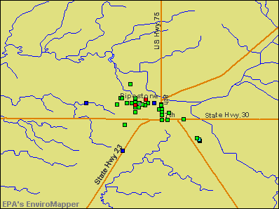 Pipestone, Minnesota environmental map by EPA