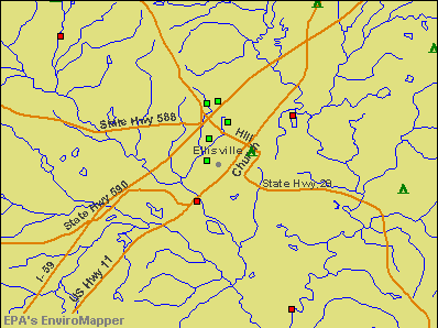 Ellisville, Mississippi environmental map by EPA