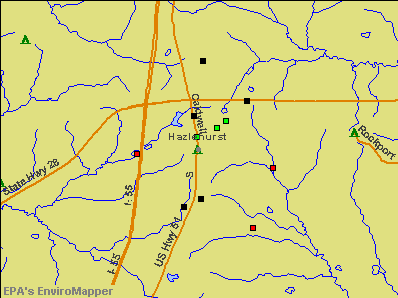 Hazlehurst, Mississippi environmental map by EPA