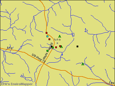 Iuka, Mississippi environmental map by EPA