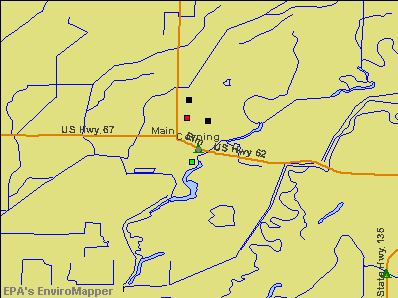 Corning, Arkansas environmental map by EPA