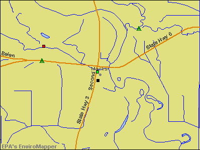 Marks, Mississippi environmental map by EPA