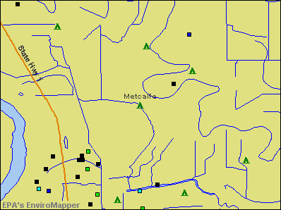 Metcalfe, Mississippi environmental map by EPA