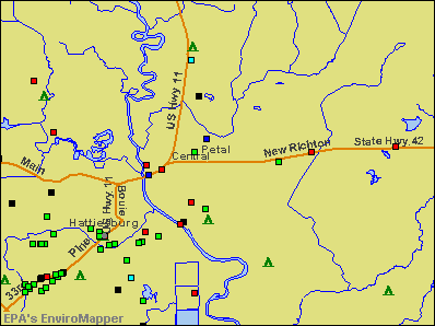 Petal, Mississippi environmental map by EPA