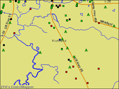 Richland, Mississippi environmental map by EPA