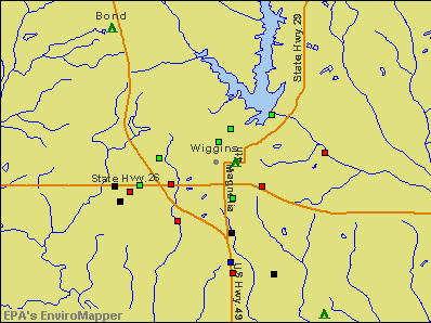 Wiggins, Mississippi environmental map by EPA