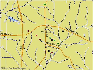 Winona, Mississippi environmental map by EPA