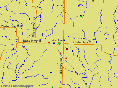 Ashland, Missouri environmental map by EPA