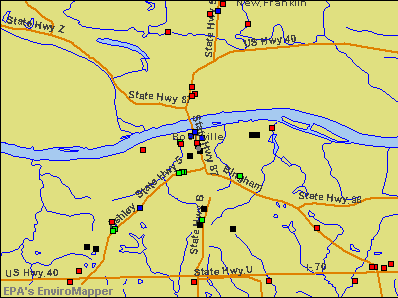 Boonville, Missouri environmental map by EPA