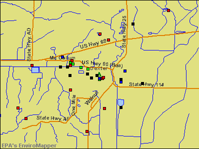 Dexter, Missouri environmental map by EPA