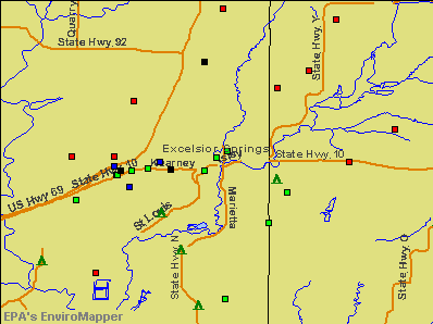 Excelsior Springs, Missouri environmental map by EPA