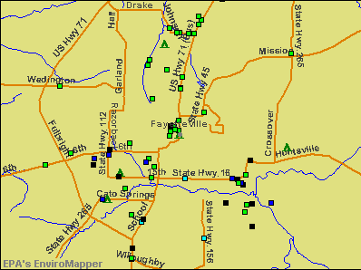 Fayetteville, Arkansas environmental map by EPA