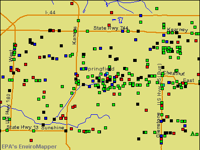 Springfield, Missouri environmental map by EPA