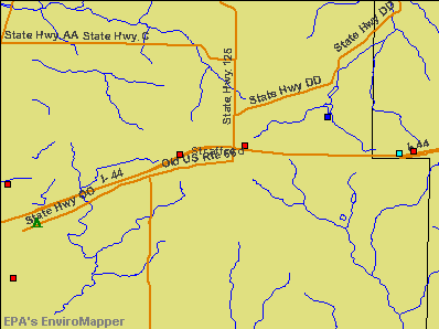 Strafford, Missouri environmental map by EPA
