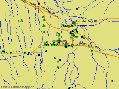 Bozeman, Montana environmental map by EPA