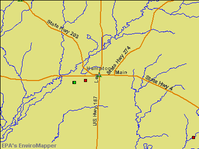 Hampton, Arkansas environmental map by EPA