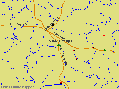 Double Springs, Alabama environmental map by EPA