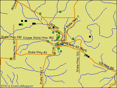 Harrison, Arkansas environmental map by EPA