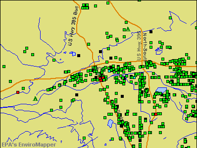 Reno, Nevada environmental map by EPA