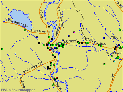 Franklin, New Hampshire environmental map by EPA