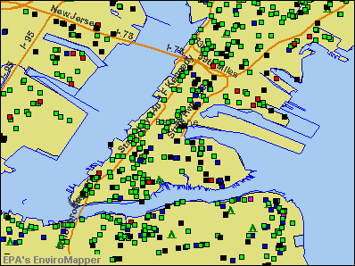 Bayonne, New Jersey environmental map by EPA