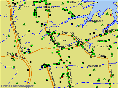 Eatontown, New Jersey environmental map by EPA